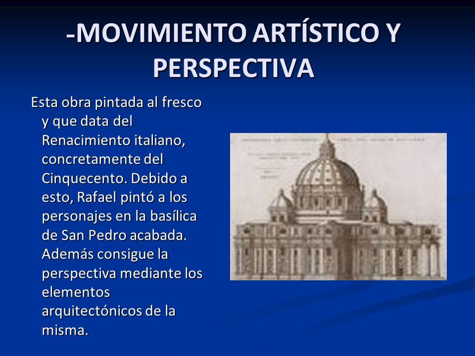 - SOPORTE, TIPO DE TÉCNICA Y MEDIDAS: Esta obra de arte es un fresco, pintado con óleo. Realizado por Rafael para la ``Stanza della Segnatura´´ (estan
