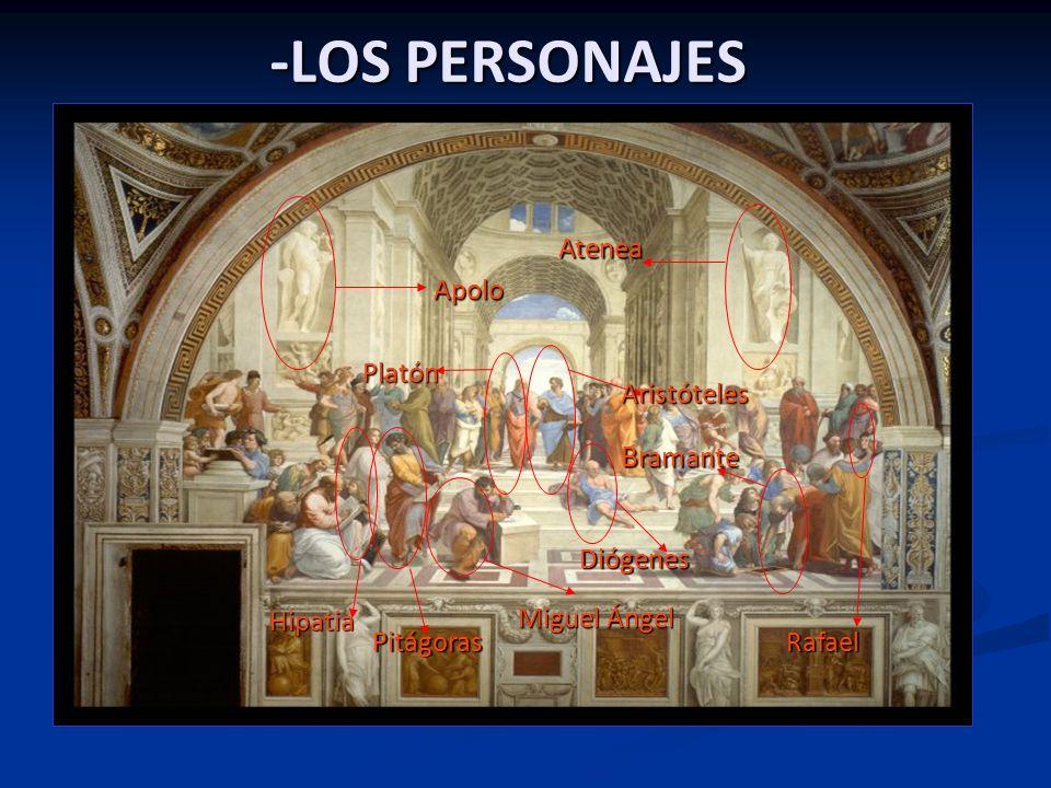 La obra plasma la basílica de San Pedro una vez acabada según como deseaba que quedase Rafael. En ella dibuja a los más importantes sabios de la antig