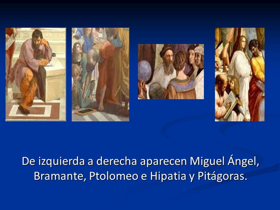 Los personajes principales son los de la imagen: Platón y Aristóteles de izquierda a derecha. Platón lleva su libro Timeo y Aristóteles lleva su Ética