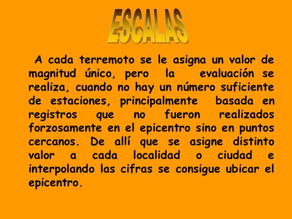 A cada terremoto se le asigna un valor de magnitud único, pero la evaluación se realiza, cuando no hay un número suficiente de estaciones, principalme