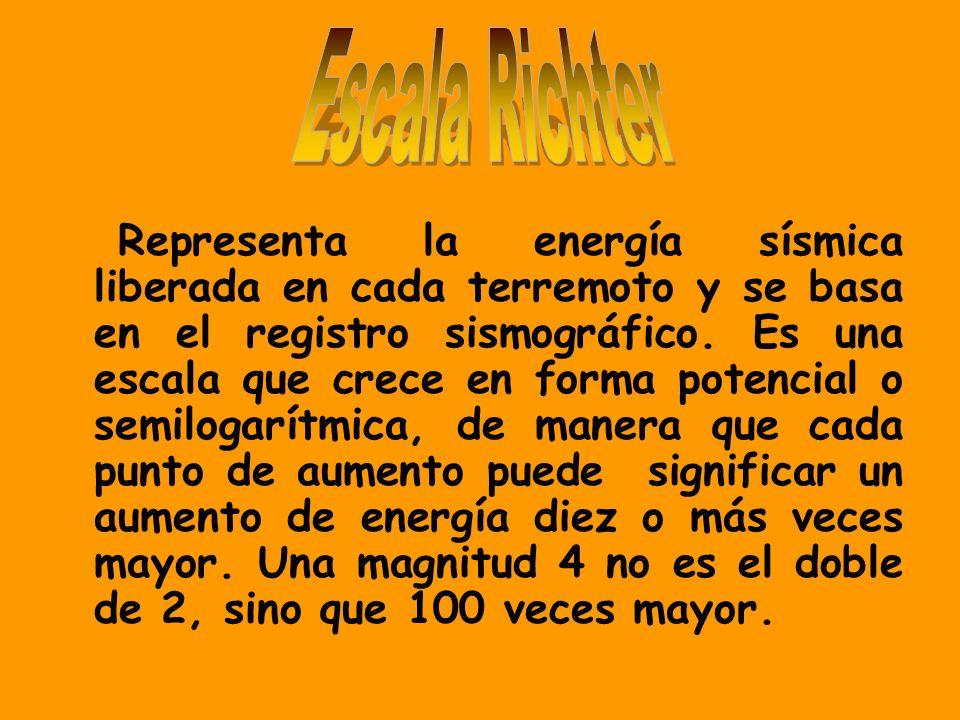 Representa la energía sísmica liberada en cada terremoto y se basa en el registro sismográfico. Es una escala que crece en forma potencial o semilogar