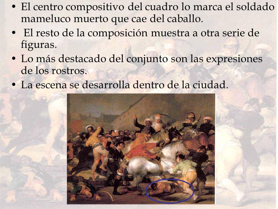 El centro compositivo del cuadro lo marca el soldado mameluco muerto que cae del caballo. El resto de la composición muestra a otra serie de figuras.