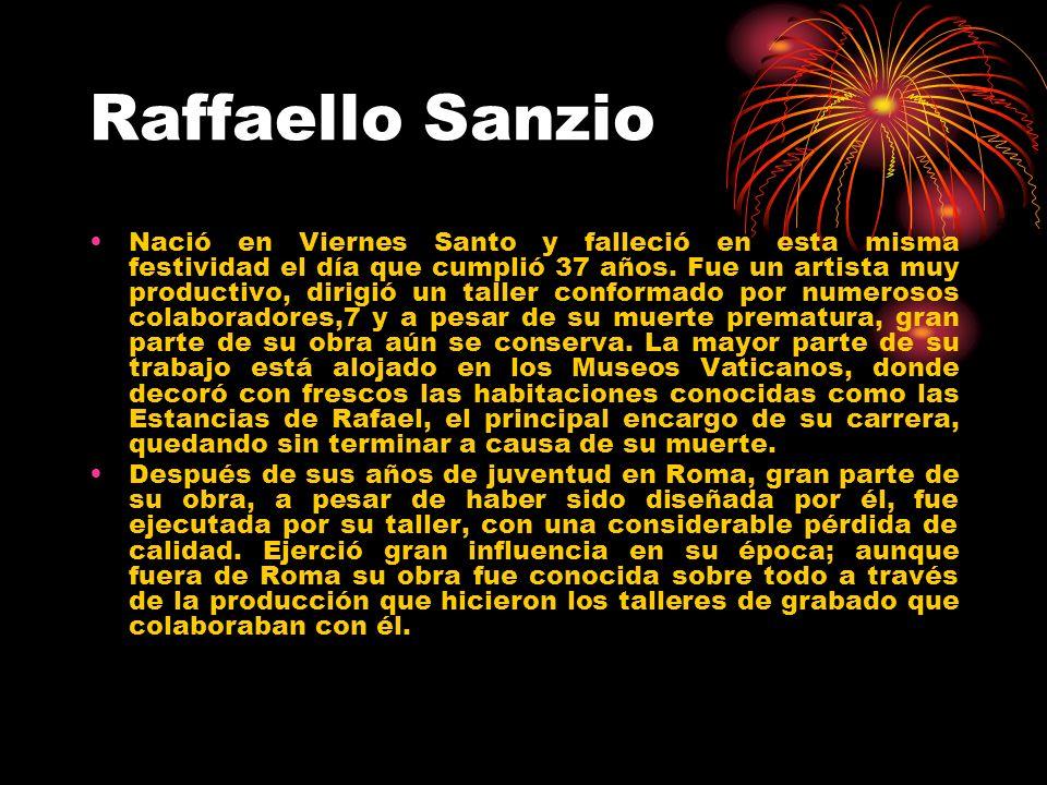 Raffaello Sanzio Después de su muerte, la influencia de su principal rival, Miguel Ángel, se intensificó hasta los siglos XVIII y XIX, cuando las cualidades más serenas y armoniosas de Rafael, fueron consideradas de nuevo como un modelo superior.