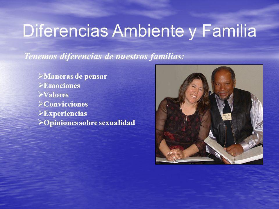Diferencias Ambiente y Familia Tenemos diferencias de nuestros familias: Maneras de pensar Emociones Valores Convicciones Experiencias Opiniones sobre