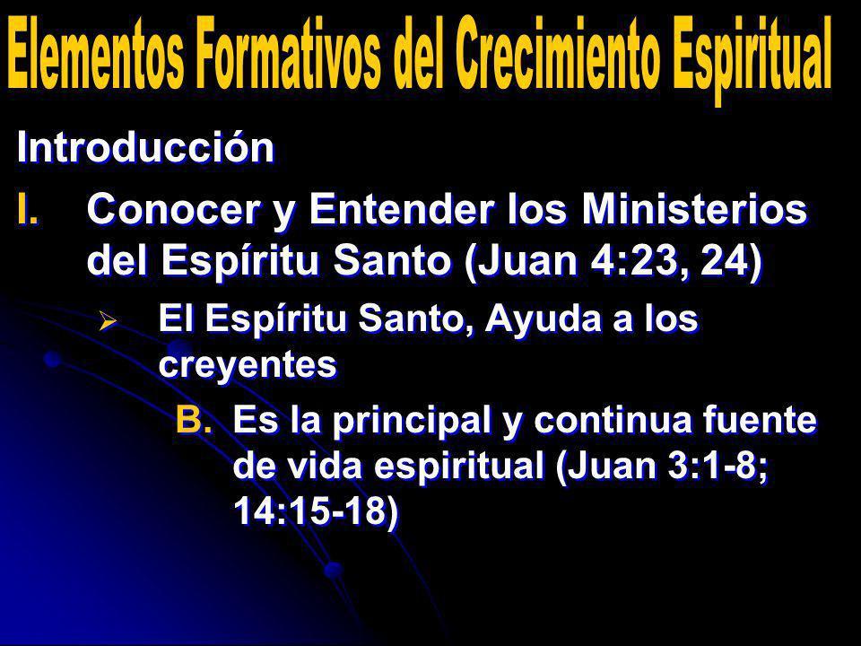 Introducción I. I.Conocer y Entender los Ministerios del Espíritu Santo (Juan 4:23, 24) El Espíritu Santo, Ayuda a los creyentes B. B.Es la principal