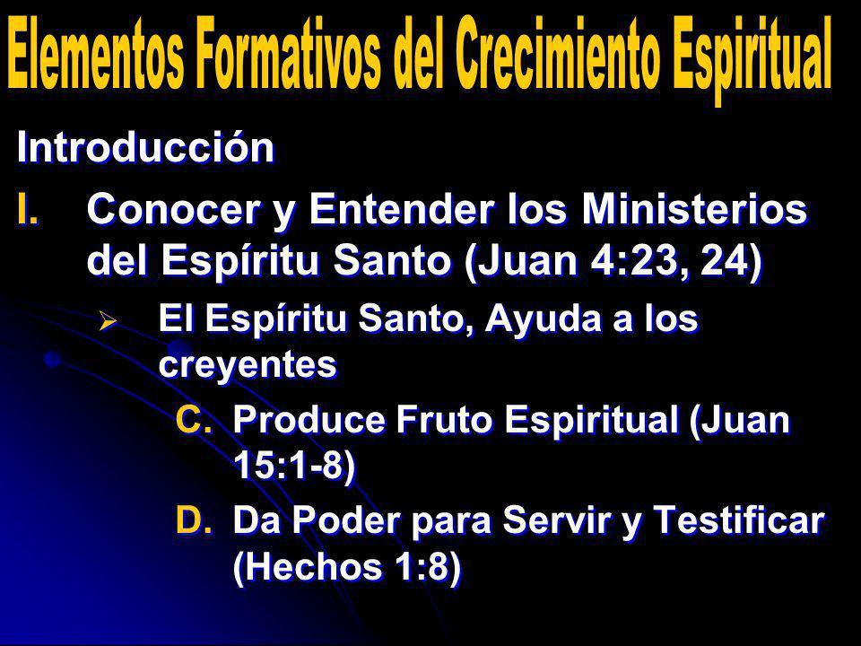 Introducción I. I.Conocer y Entender los Ministerios del Espíritu Santo (Juan 4:23, 24) El Espíritu Santo, Ayuda a los creyentes C. C.Produce Fruto Es