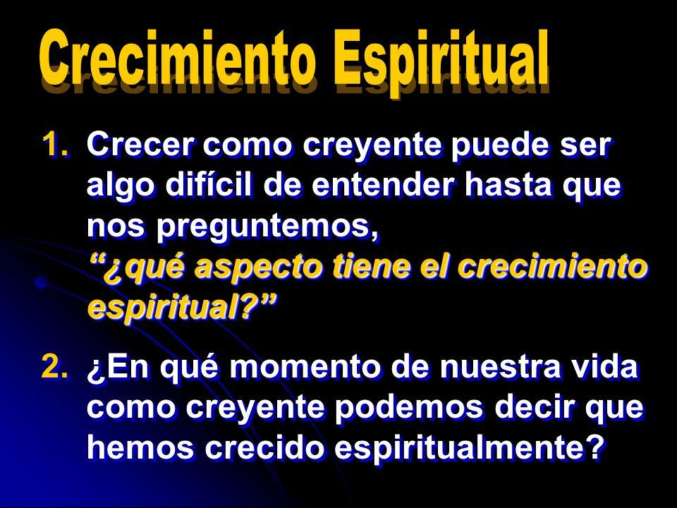1.Crecer como creyente puede ser algo difícil de entender hasta que nos preguntemos, ¿qué aspecto tiene el crecimiento espiritual? 2.¿En qué momento d