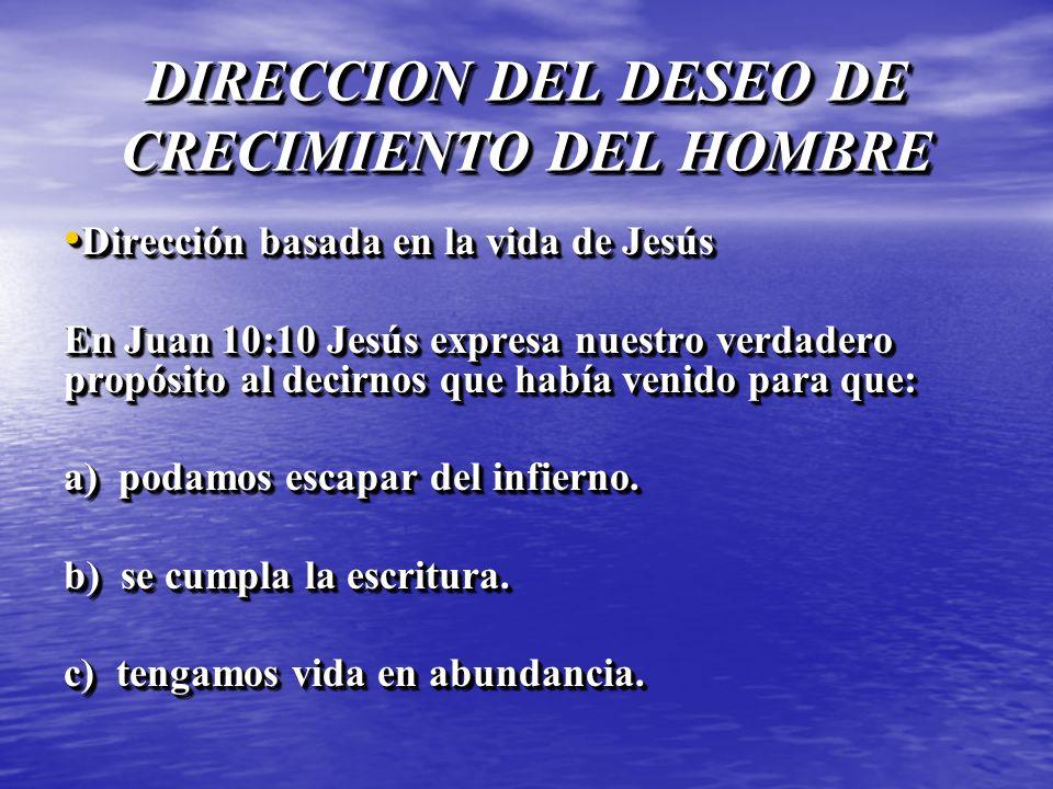 DIRECCION DEL DESEO DE CRECIMIENTO DEL HOMBRE Dirección basada en la vida de Jesús Dirección basada en la vida de Jesús En Juan 10:10 Jesús expresa nu