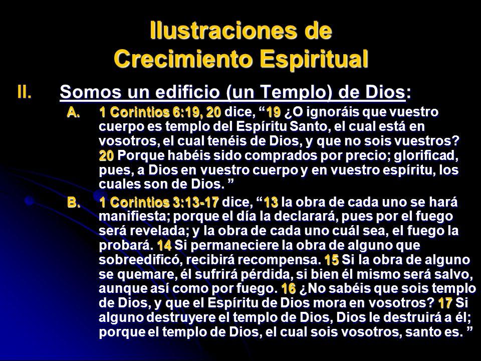Ilustraciones de Crecimiento Espiritual II.Somos II.Somos un edificio (un Templo) de Dios: A.1 A.1 Corintios 6:19, 20 20 dice, 1919 ¿O ignoráis que vu