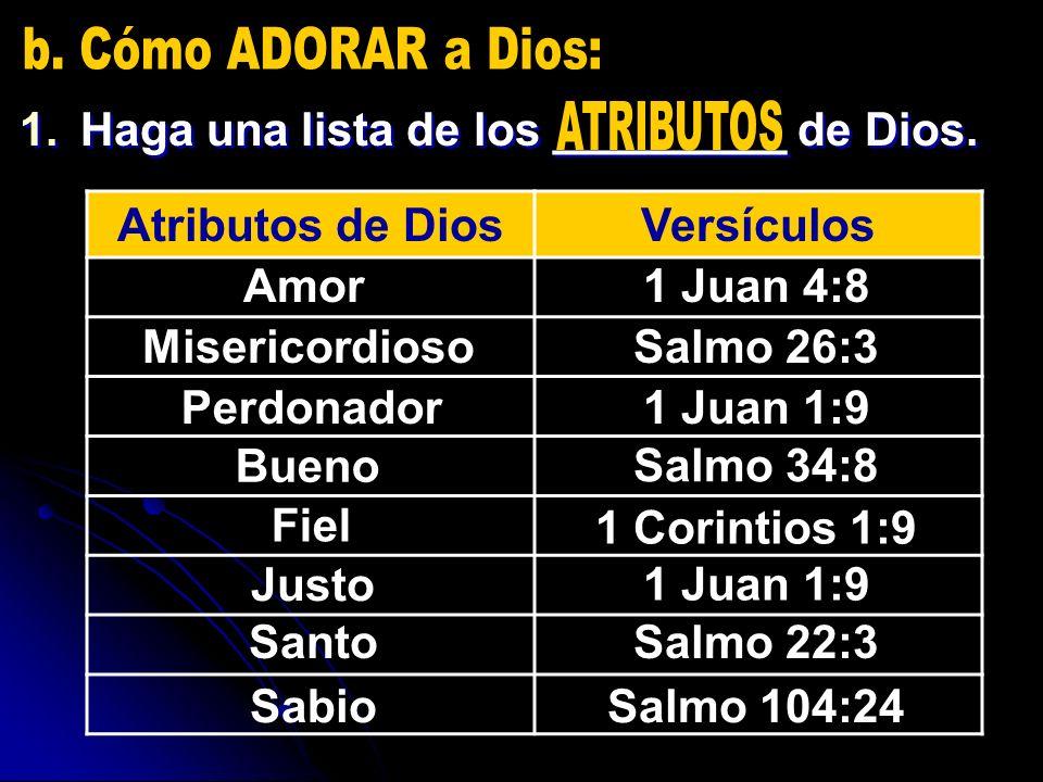 1.Haga una lista de los _________ de Dios. Atributos de DiosVersículos Amor1 Juan 4:8 MisericordiosoSalmo 26:3 Perdonador1 Juan 1:9 Bueno Salmo 34:8 F