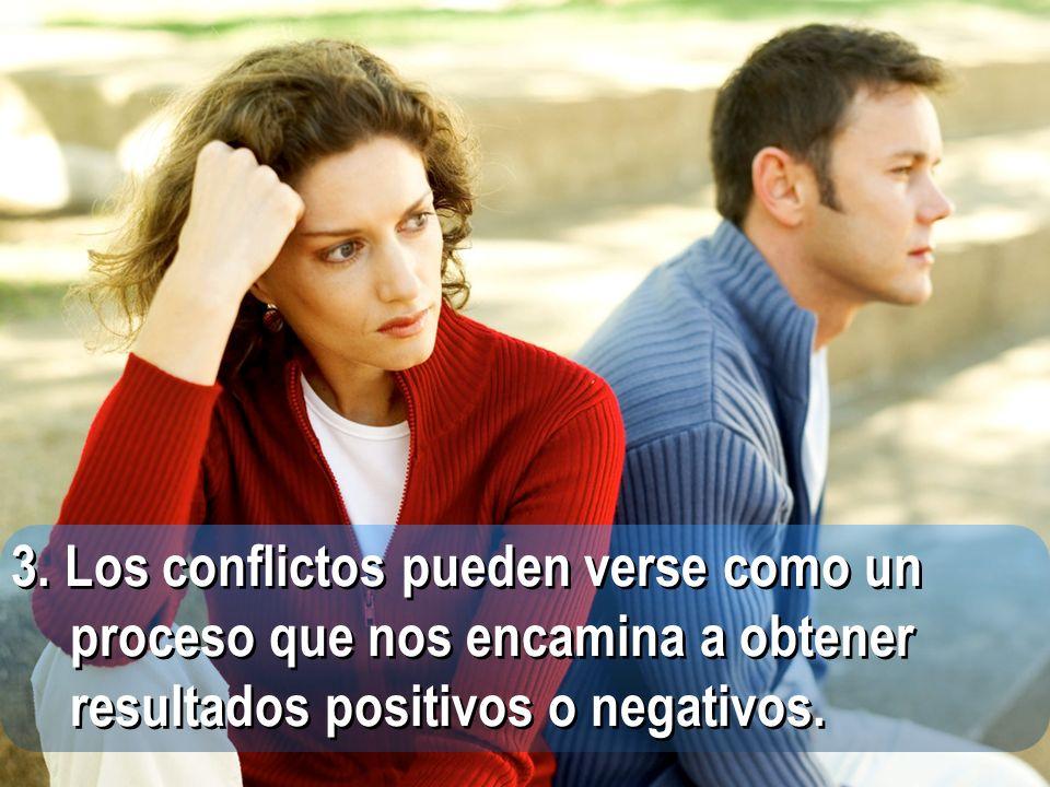 3. Los conflictos pueden verse como un proceso que nos encamina a obtener resultados positivos o negativos.