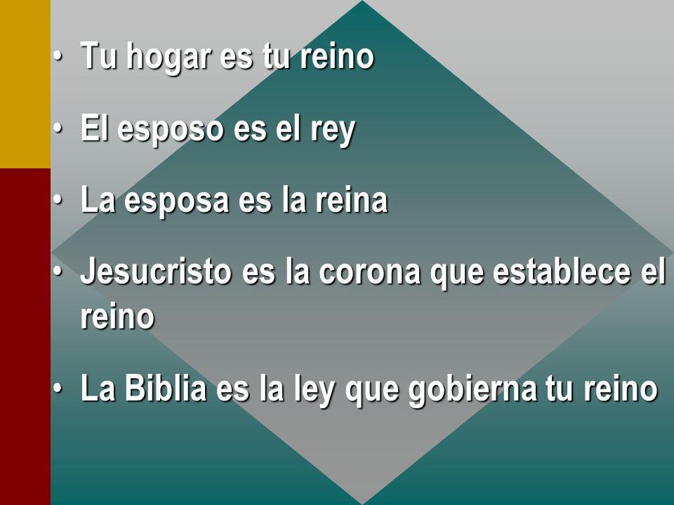 hogar es tu reino El El esposo es el rey La La esposa es la reina Jesucristo Jesucristo es la corona que establece el reino La La Biblia es la ley que gobierna tu reino