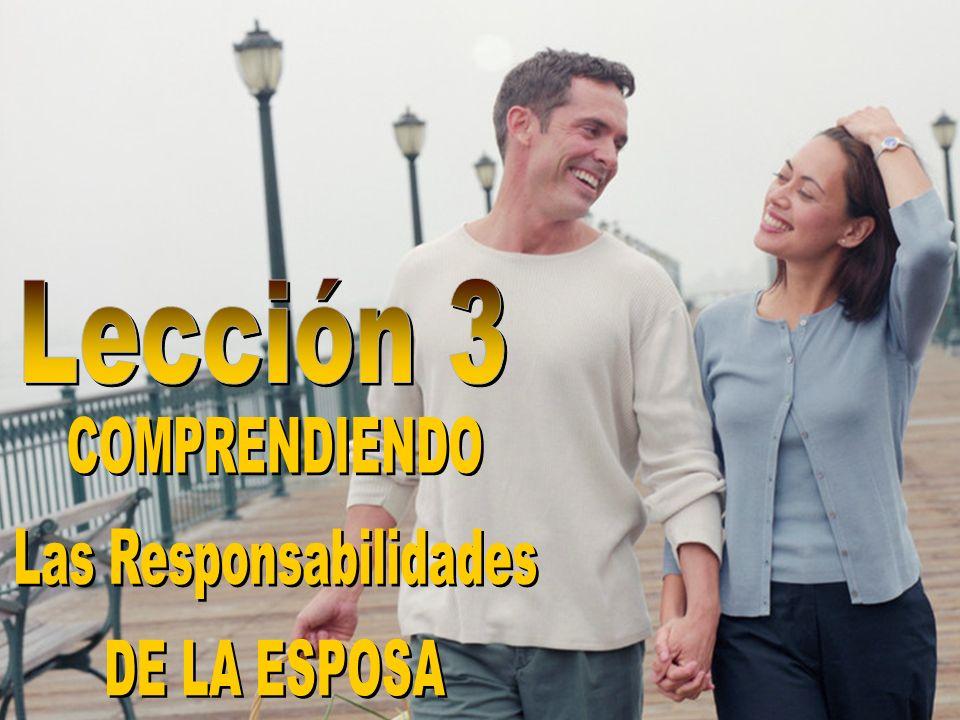 Las responsabilidades de la esposa: RESPETO Definición: Definición: Apreciar, Demostrar consideración y aprecio....y la mujer respete a su marido.