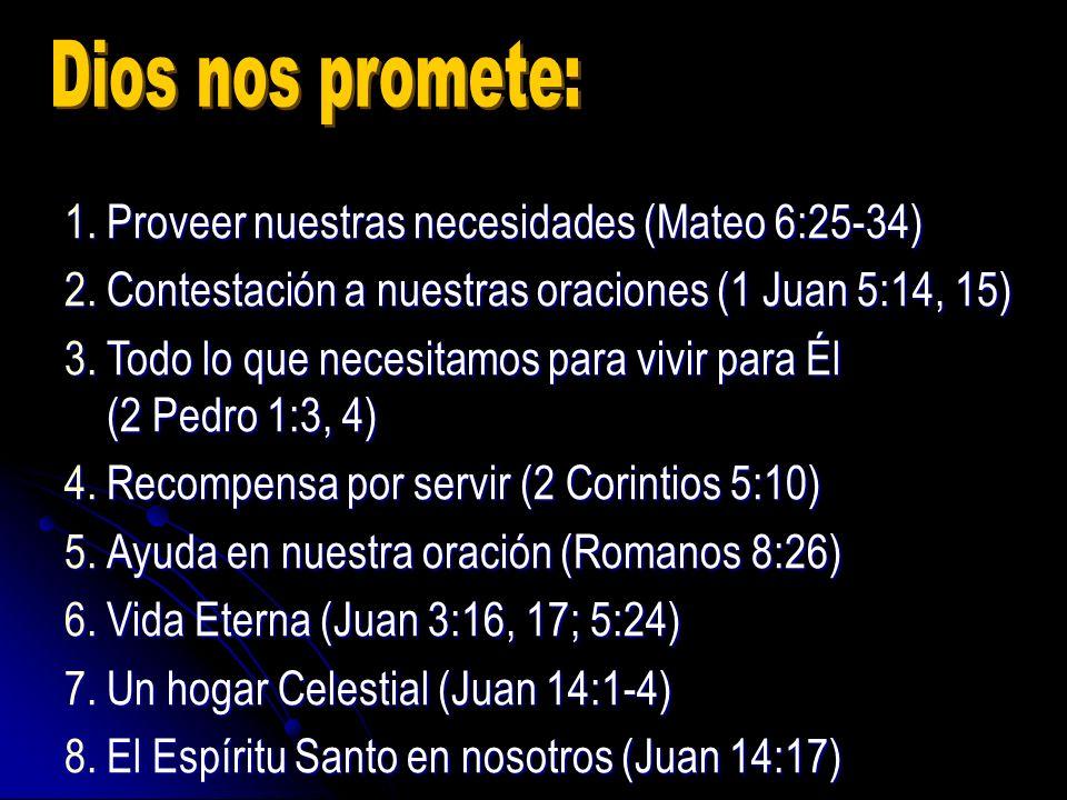 1.Proveer nuestras necesidades (Mateo 6:25-34) 2.Contestación a nuestras oraciones (1 Juan 5:14, 15) 3.Todo lo que necesitamos para vivir para Él (2 P