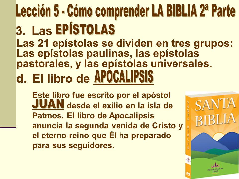 En resumen, el NT se puede dividir de esta manera: ___ __________ _______ libros: Mateo a Juan ________ ____ Libro: Hechos ______ ________ _______ Libros: Romanos a 2 Tesalonicenses ______ ________ _______ Libros: 1 Timoteo a Hebreos ______ ________ ________ Libros: Santiago a Judas __________ ____ Libro: Apocalipsis