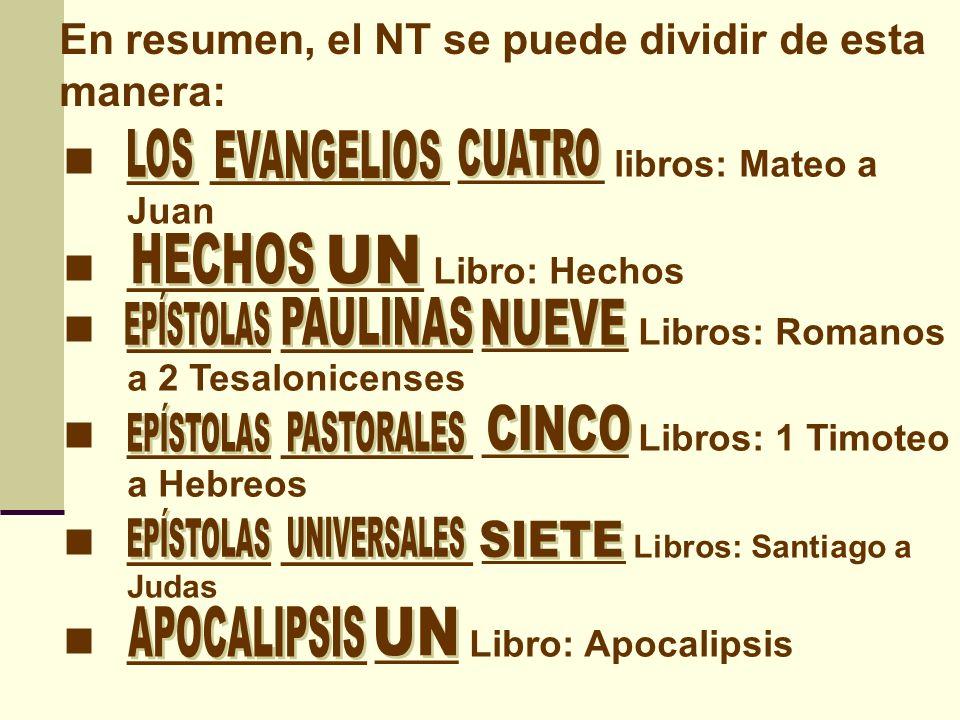 En resumen, el NT se puede dividir de esta manera: Mateo Marcos Lucas Juan EVANGELIOS