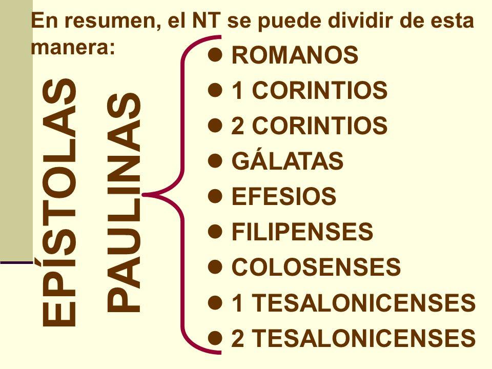 En resumen, el NT se puede dividir de esta manera: 1 TIMOTEO 2 TIMOTEO TITO FILEMÓN HEBREOS EPÍSTOLAS PASTORALES