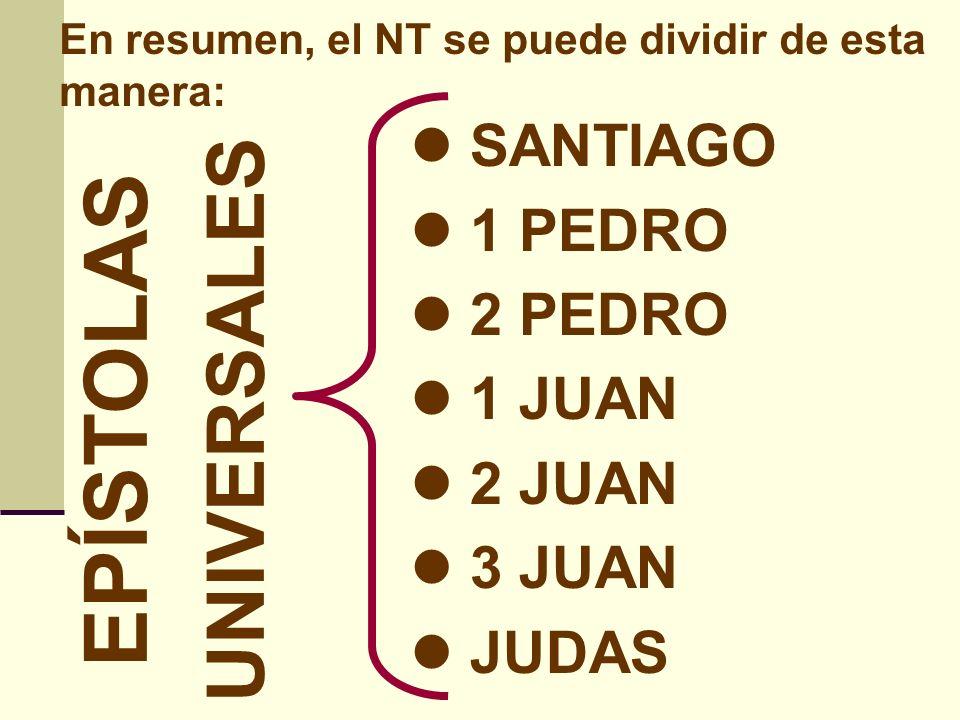 En resumen, el NT se puede dividir de esta manera: APOCALIPSIS PROFÉTICO