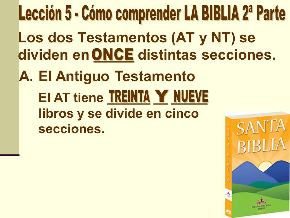 Los dos Testamentos (AT y NT) se dividen en _____ distintas secciones.