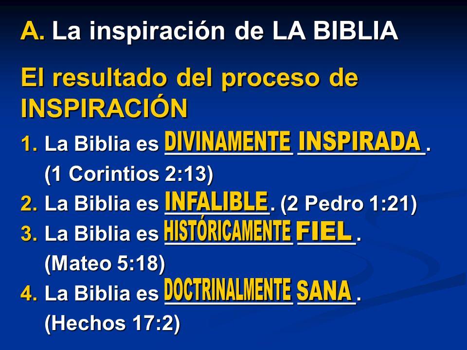 El resultado del proceso de INSPIRACIÓN 1.La Biblia es ___________ ___________. (1 Corintios 2:13) 2.La Biblia es _________. (2 Pedro 1:21) 3.La Bibli