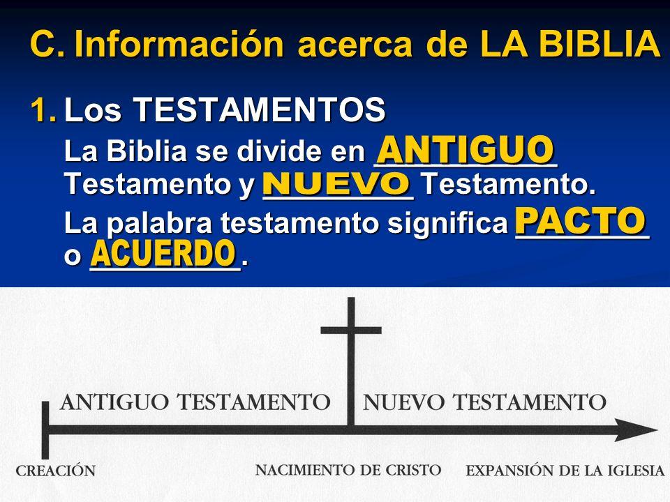 1.Los TESTAMENTOS La Biblia se divide en ___________ Testamento y _________ Testamento. La palabra testamento significa ________ o _________. C.Inform