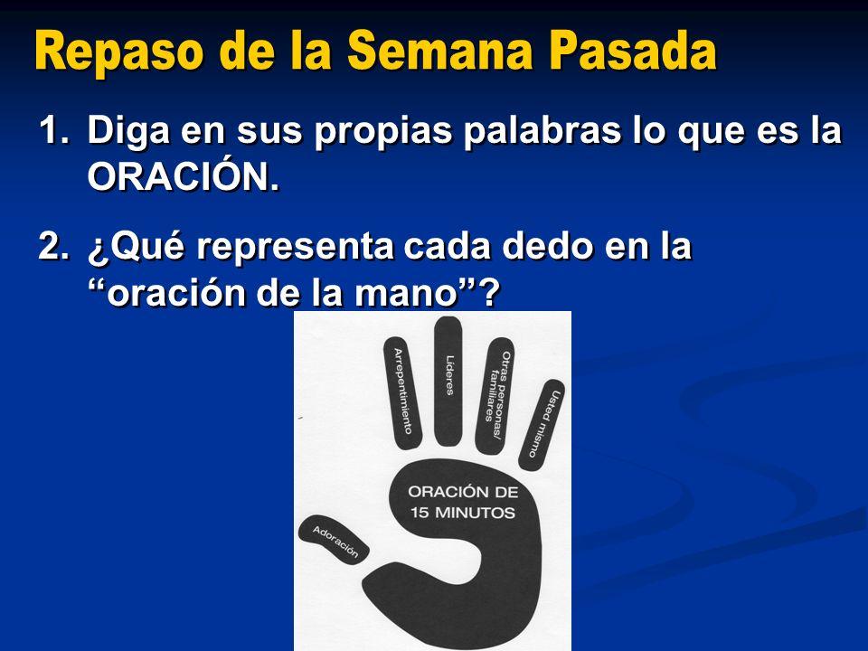 1.Diga en sus propias palabras lo que es la ORACIÓN. 2.¿Qué representa cada dedo en la oración de la mano? 1.Diga en sus propias palabras lo que es la