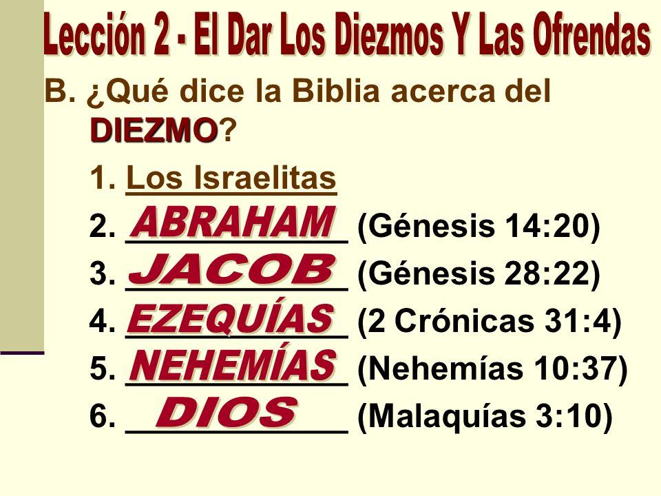 DIEZMO B. ¿Qué dice la Biblia acerca del DIEZMO? 1. Los Israelitas 2. ____________ (Génesis 14:20) 3. ____________ (Génesis 28:22) 4. ____________ (2