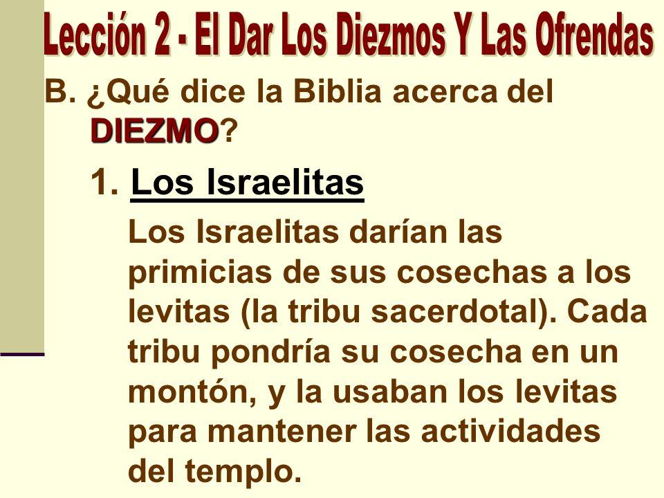 DIEZMO B. ¿Qué dice la Biblia acerca del DIEZMO? 1. Los Israelitas Los Israelitas darían las primicias de sus cosechas a los levitas (la tribu sacerdo