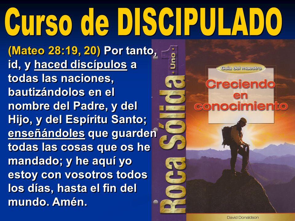 (Mateo 28:19, 20) Por tanto, id, y haced discípulos a todas las naciones, bautizándolos en el nombre del Padre, y del Hijo, y del Espíritu Santo; ense