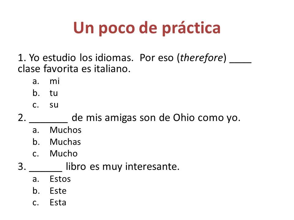 Un poco de práctica 1.Yo estudio los idiomas. Por eso (therefore) ____ clase favorita es italiano.