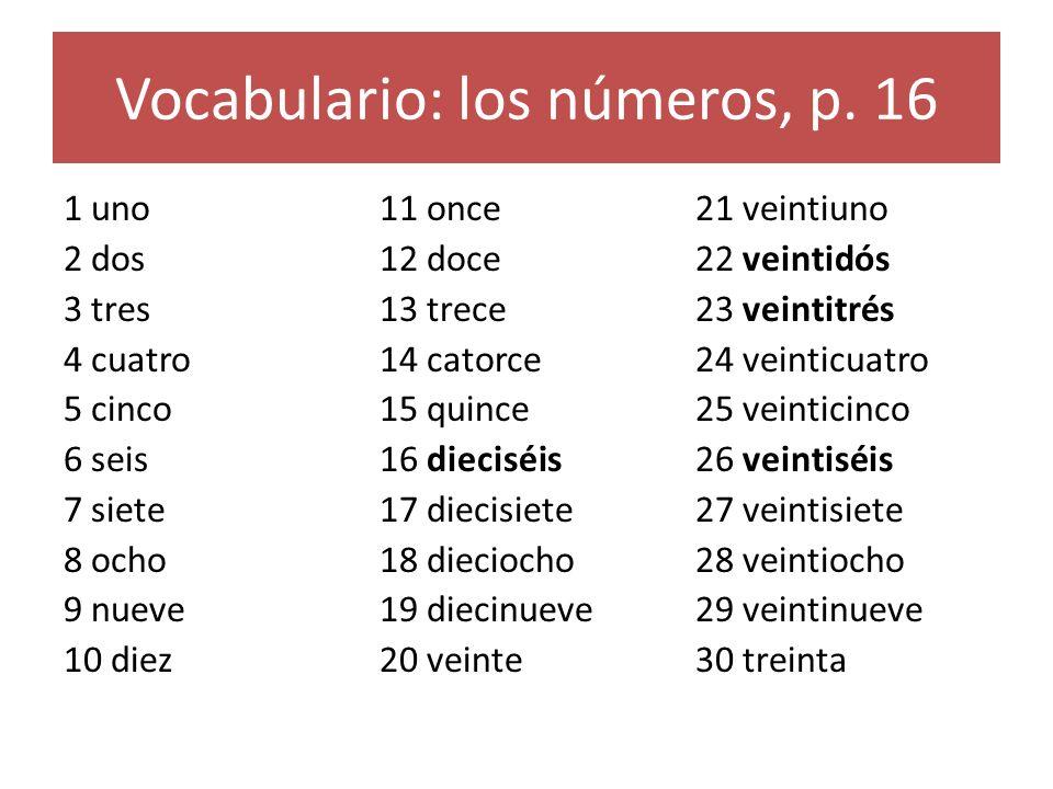 Vocabulario: los números, p.