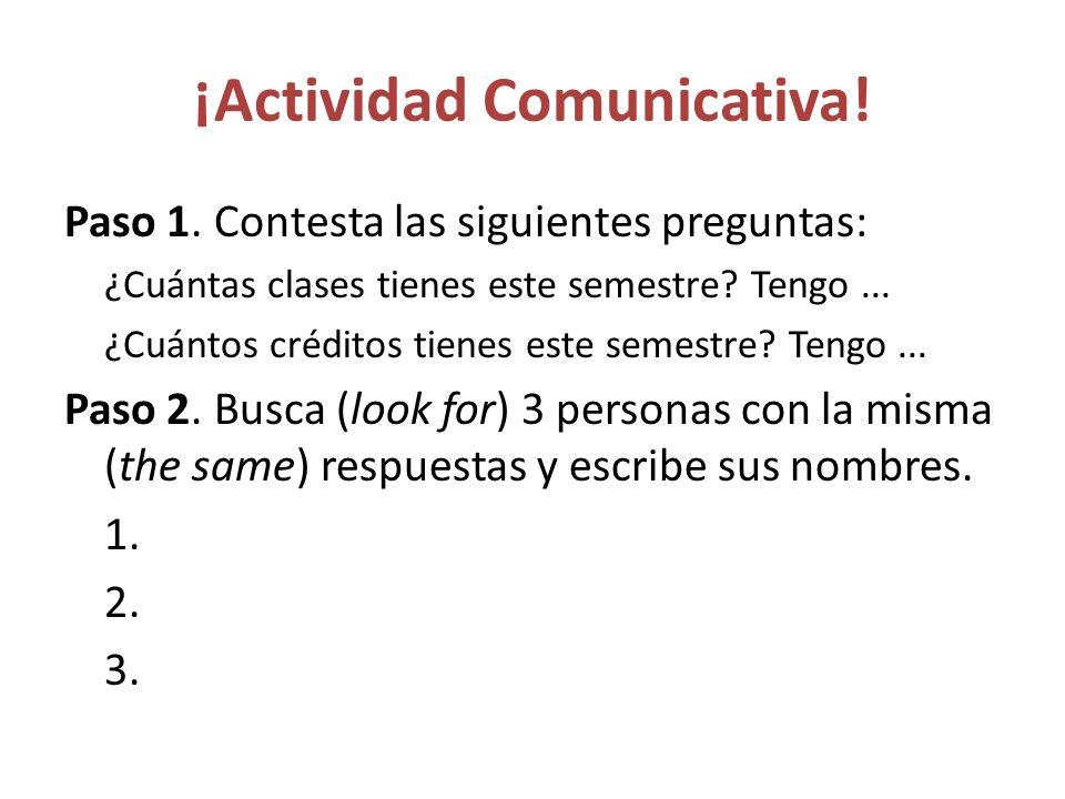 ¡Actividad Comunicativa.Paso 1.