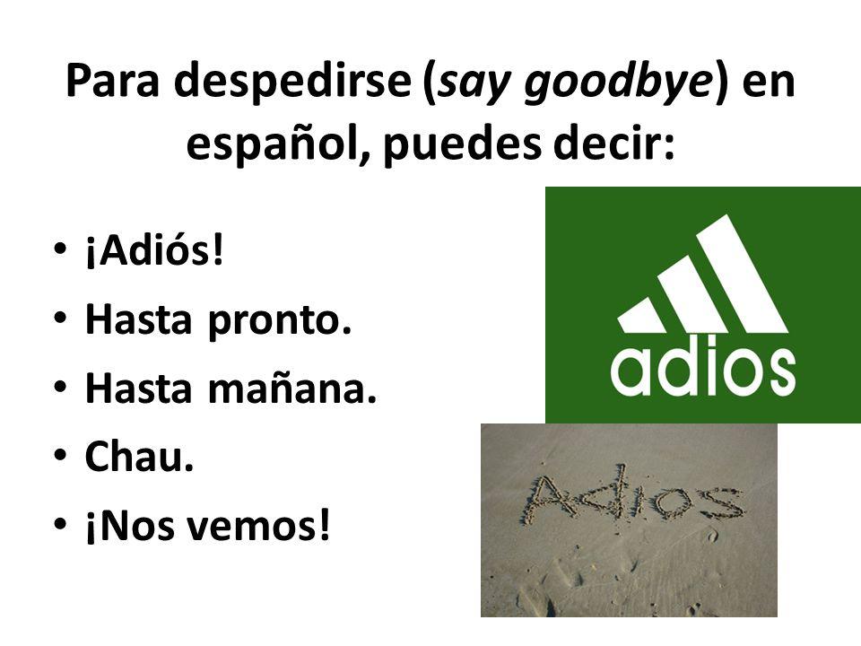 Para despedirse (say goodbye) en español, puedes decir: ¡Adiós! Hasta pronto. Hasta mañana. Chau. ¡Nos vemos!