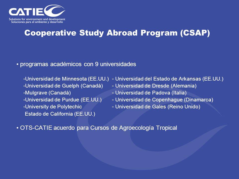 programas académicos con 9 universidades -Universidad de Minnesota (EE.UU.) - Universidad del Estado de Arkansas (EE.UU.) -Universidad de Guelph (Cana