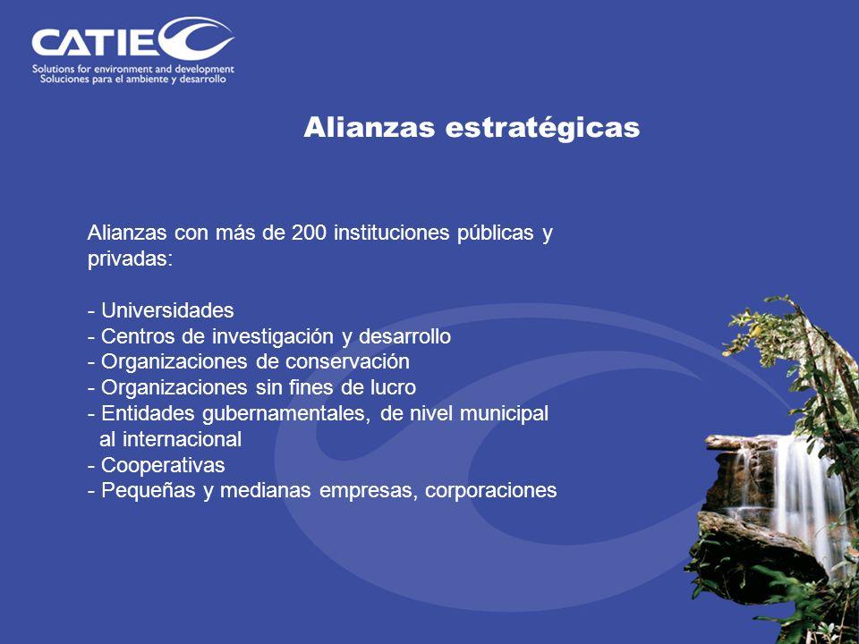 Alianzas estratégicas Alianzas con más de 200 instituciones públicas y privadas: - Universidades - Centros de investigación y desarrollo - Organizacio