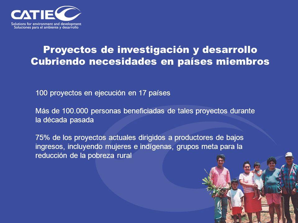 Proyectos de investigación y desarrollo Cubriendo necesidades en países miembros 100 proyectos en ejecución en 17 países Más de 100.000 personas benef