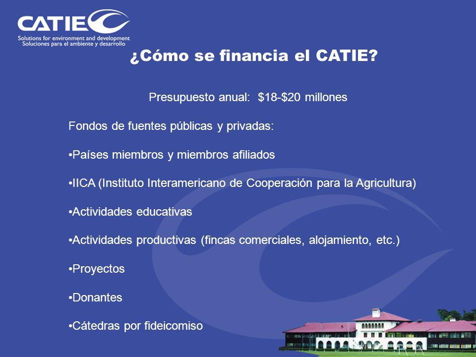 ¿Cómo se financia el CATIE? Presupuesto anual: $18-$20 millones Fondos de fuentes públicas y privadas: Países miembros y miembros afiliados IICA (Inst