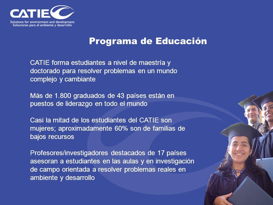 Programa de Educación CATIE forma estudiantes a nivel de maestría y doctorado para resolver problemas en un mundo complejo y cambiante Más de 1.800 gr