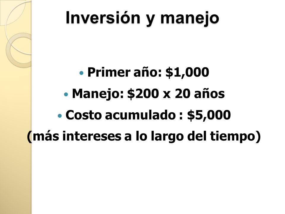 Inversión y manejo Primer año: $1,000 Manejo: $200 x 20 años Costo acumulado : $5,000 (más intereses a lo largo del tiempo)