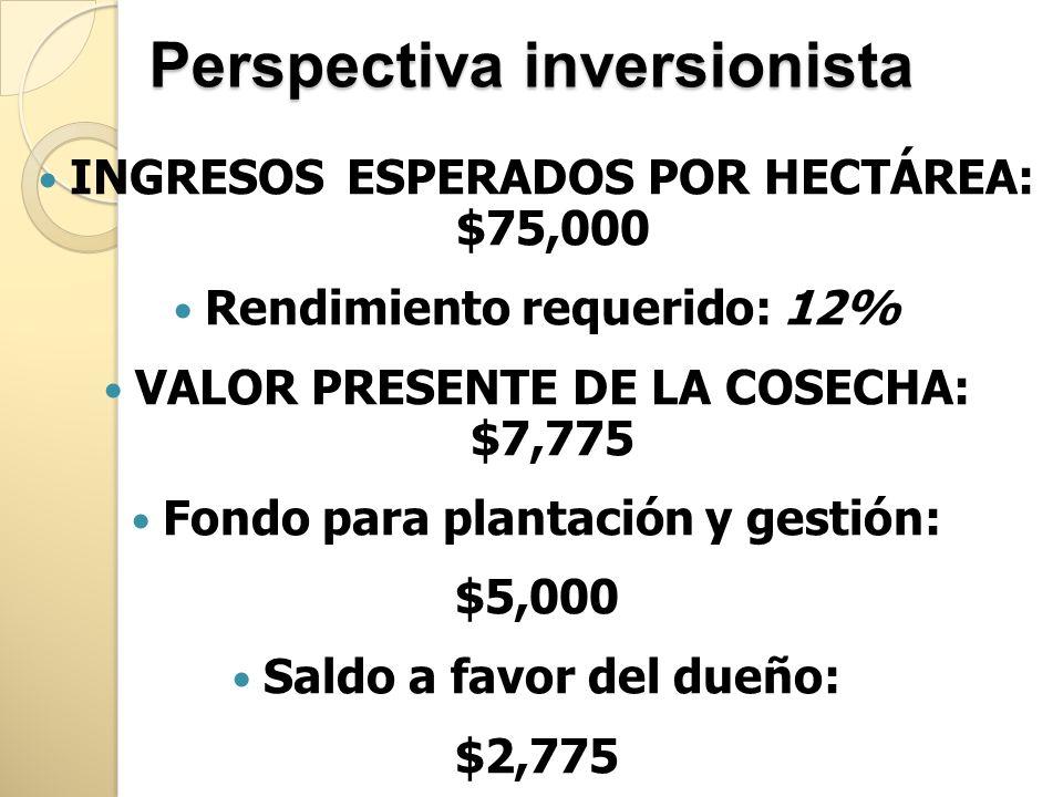 Perspectiva inversionista INGRESOS ESPERADOS POR HECTÁREA: $75,000 Rendimiento requerido: 12% VALOR PRESENTE DE LA COSECHA: $7,775 Fondo para plantaci