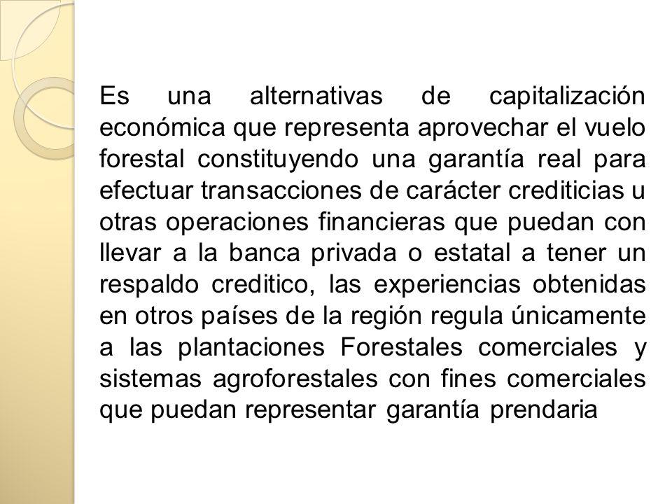 Es una alternativas de capitalización económica que representa aprovechar el vuelo forestal constituyendo una garantía real para efectuar transaccione