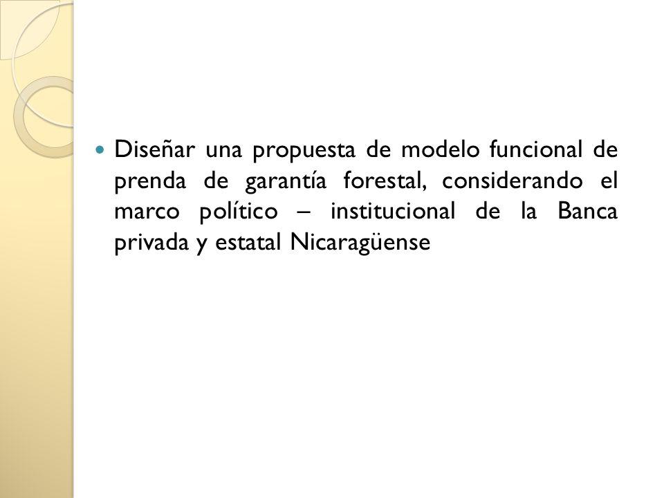 Diseñar una propuesta de modelo funcional de prenda de garantía forestal, considerando el marco político – institucional de la Banca privada y estatal