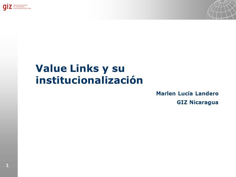 1 Value Links y su institucionalización Marlen Lucía Landero GIZ Nicaragua