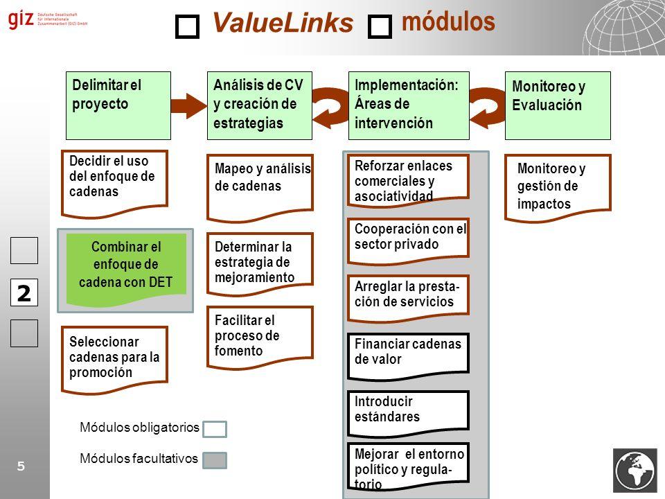 5 módulos Determinar la estrategia de mejoramiento Mapeo y análisis de cadenas Facilitar el proceso de fomento Implementación: Áreas de intervención A