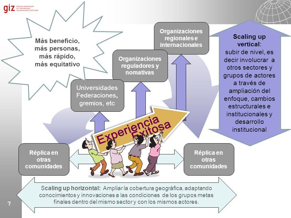 7 Scaling up vertical: subir de nivel, es decir involucrar a otros sectores y grupos de actores a través de ampliación del enfoque, cambios estructura