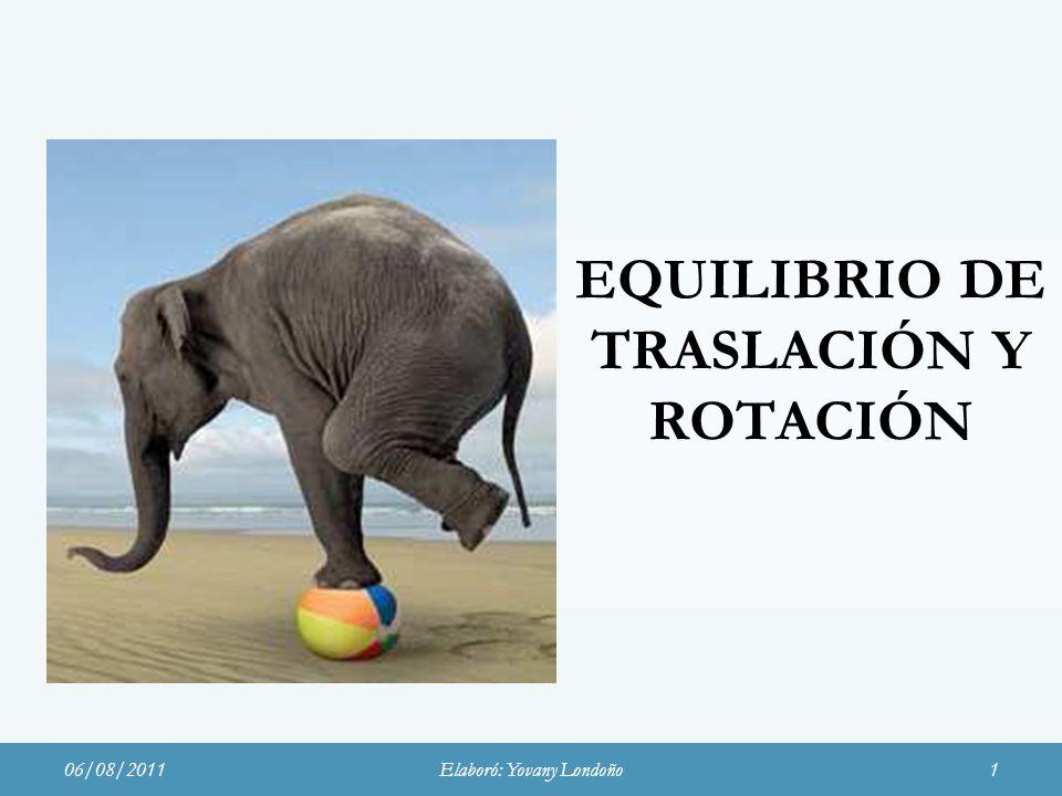 EQUILIBRIO DE TRASLACIÓN Y ROTACIÓN 06/08/2011Elaboró: Yovany Londoño1