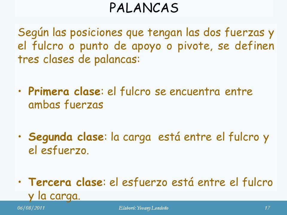 PALANCAS Según las posiciones que tengan las dos fuerzas y el fulcro o punto de apoyo o pivote, se definen tres clases de palancas: Primera clase: el
