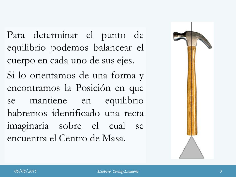 Para determinar el punto de equilibrio podemos balancear el cuerpo en cada uno de sus ejes. Si lo orientamos de una forma y encontramos la Posición en