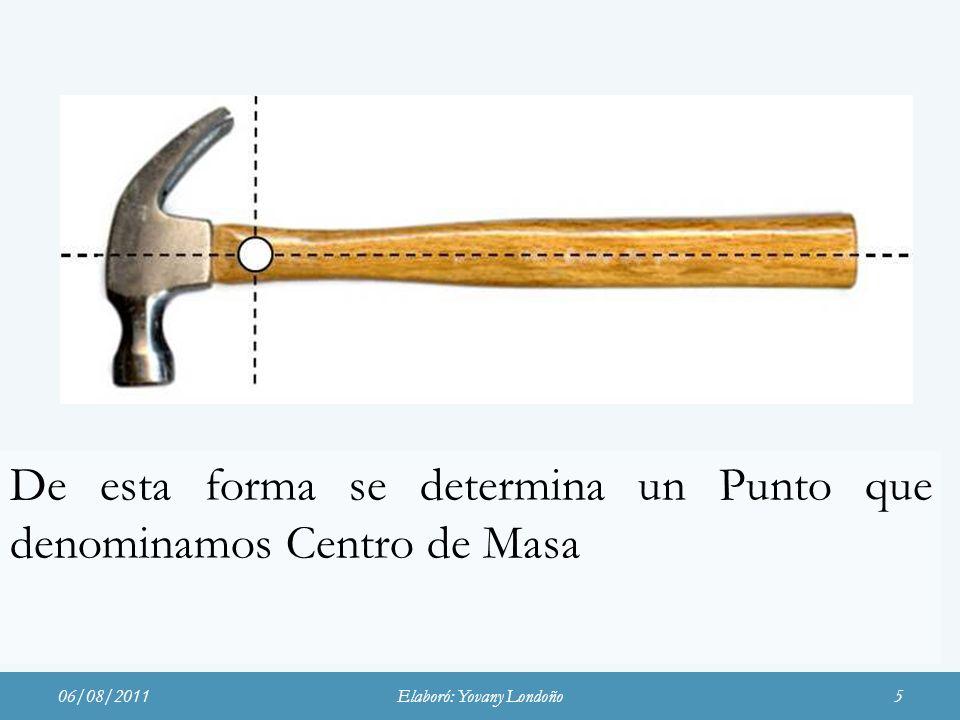 De esta forma se determina un Punto que denominamos Centro de Masa 06/08/2011Elaboró: Yovany Londoño5
