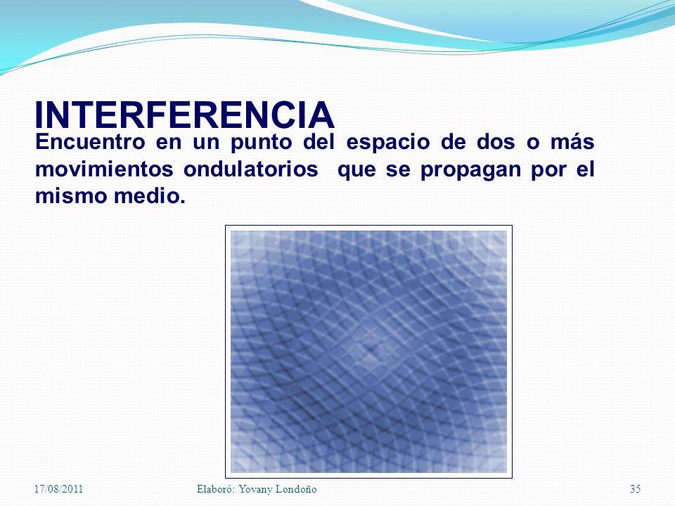 INTERFERENCIA Encuentro en un punto del espacio de dos o más movimientos ondulatorios que se propagan por el mismo medio. 17/08/2011Elaboró: Yovany Lo